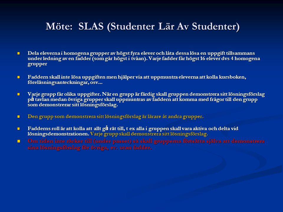 Möte: SLAS (Studenter Lär Av Studenter) Möte: SLAS (Studenter Lär Av Studenter) Dela eleverna i homogena grupper av högst fyra elever och låta dessa l
