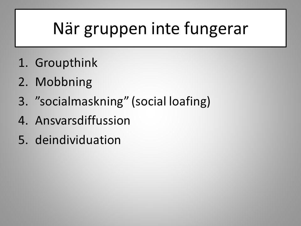 """När gruppen inte fungerar 1.Groupthink 2.Mobbning 3.""""socialmaskning"""" (social loafing) 4.Ansvarsdiffussion 5.deindividuation"""