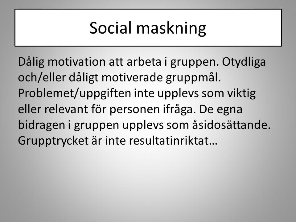 Social maskning Dålig motivation att arbeta i gruppen. Otydliga och/eller dåligt motiverade gruppmål. Problemet/uppgiften inte upplevs som viktig elle