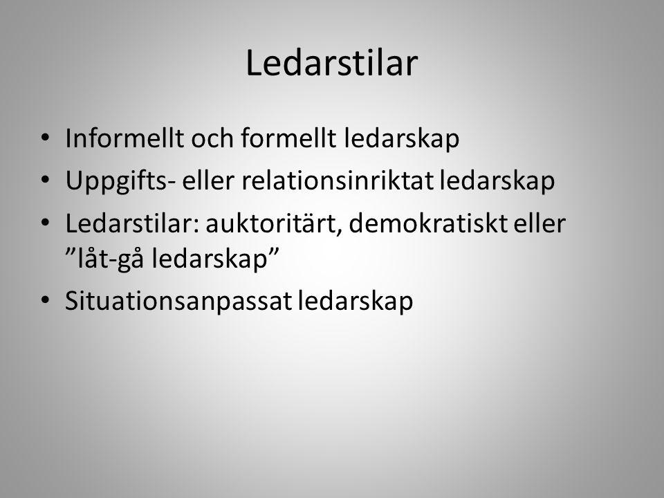 """Ledarstilar Informellt och formellt ledarskap Uppgifts- eller relationsinriktat ledarskap Ledarstilar: auktoritärt, demokratiskt eller """"låt-gå ledarsk"""