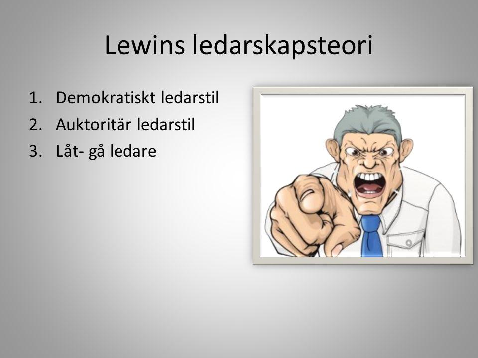 Lewins ledarskapsteori 1.Demokratiskt ledarstil 2.Auktoritär ledarstil 3.Låt- gå ledare