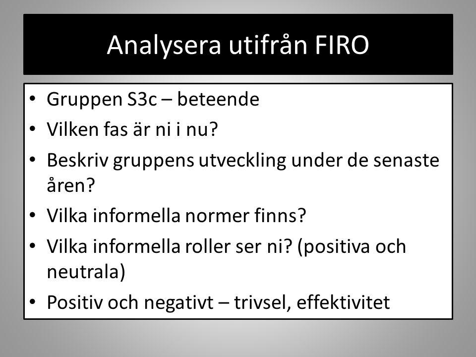 Analysera utifrån FIRO Gruppen S3c – beteende Vilken fas är ni i nu? Beskriv gruppens utveckling under de senaste åren? Vilka informella normer finns?