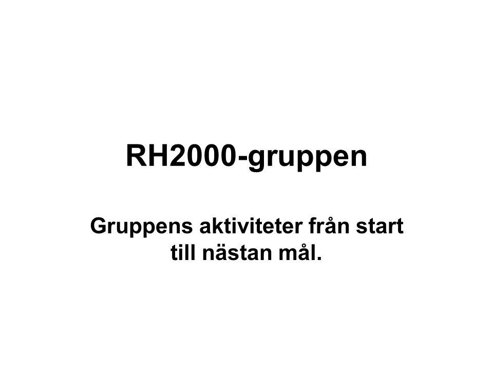RH2000-gruppen Gruppens aktiviteter från start till nästan mål.