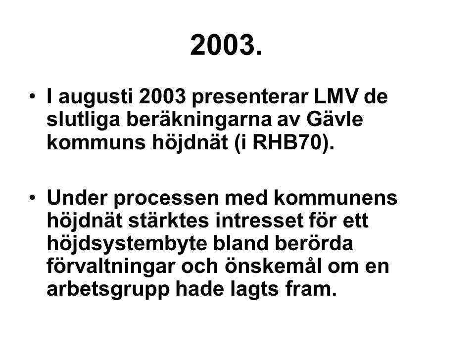 2003. I augusti 2003 presenterar LMV de slutliga beräkningarna av Gävle kommuns höjdnät (i RHB70). Under processen med kommunens höjdnät stärktes intr