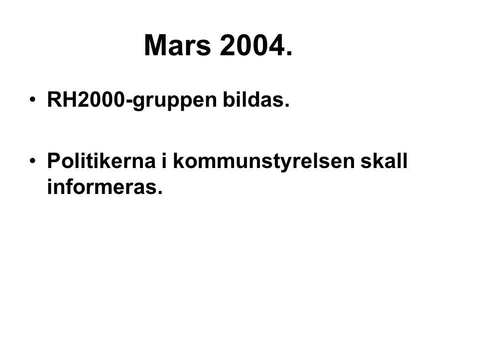 Mars 2004. RH2000-gruppen bildas. Politikerna i kommunstyrelsen skall informeras.