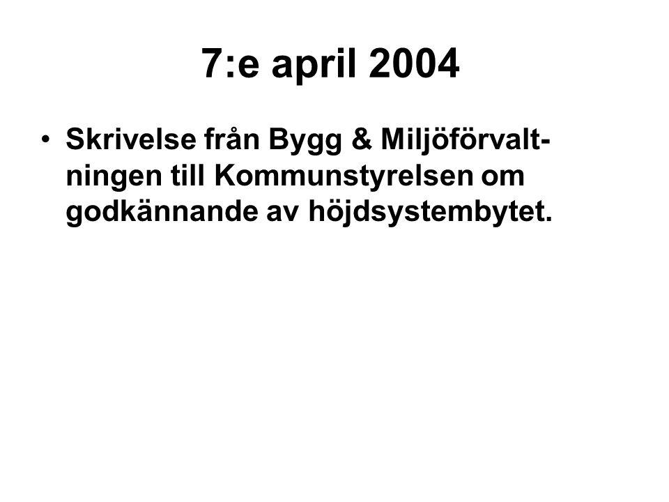 7:e april 2004 Skrivelse från Bygg & Miljöförvalt- ningen till Kommunstyrelsen om godkännande av höjdsystembytet.
