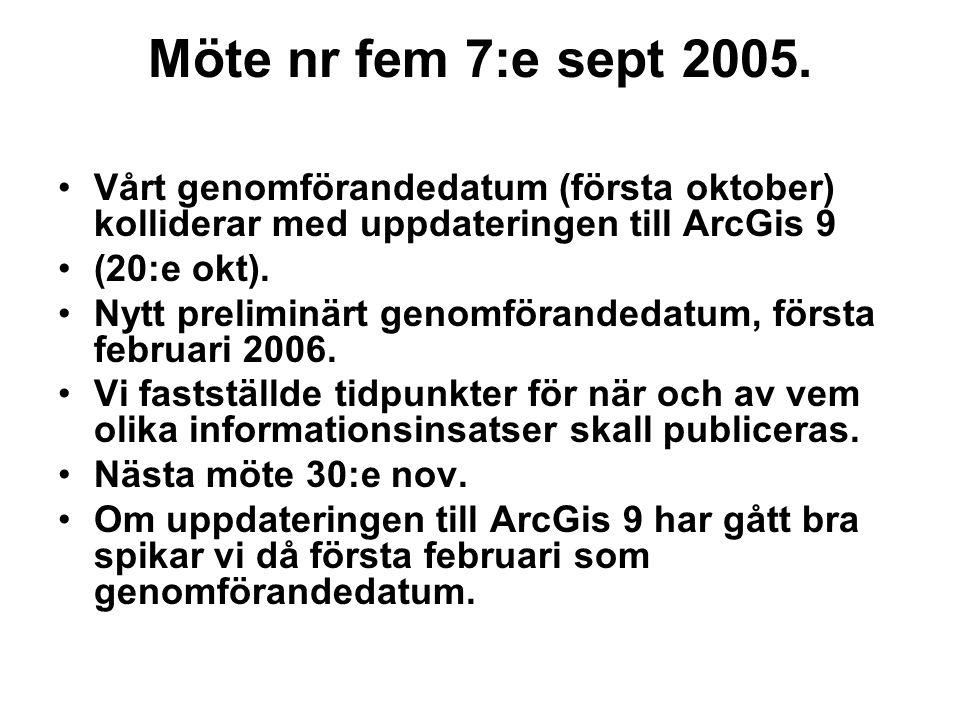 Möte nr fem 7:e sept 2005. Vårt genomförandedatum (första oktober) kolliderar med uppdateringen till ArcGis 9 (20:e okt). Nytt preliminärt genomförand