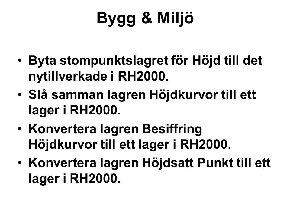 Bygg & Miljö Byta stompunktslagret för Höjd till det nytillverkade i RH2000. Slå samman lagren Höjdkurvor till ett lager i RH2000. Konvertera lagren B