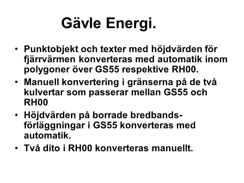 Gävle Energi. Punktobjekt och texter med höjdvärden för fjärrvärmen konverteras med automatik inom polygoner över GS55 respektive RH00. Manuell konver