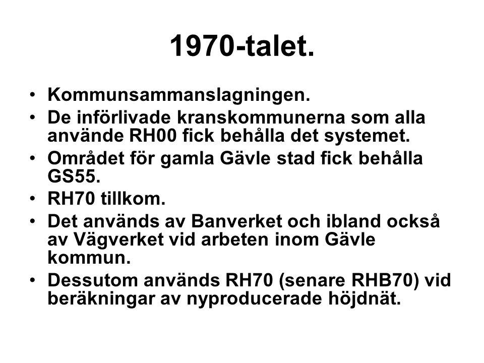 1970-talet. Kommunsammanslagningen. De införlivade kranskommunerna som alla använde RH00 fick behålla det systemet. Området för gamla Gävle stad fick