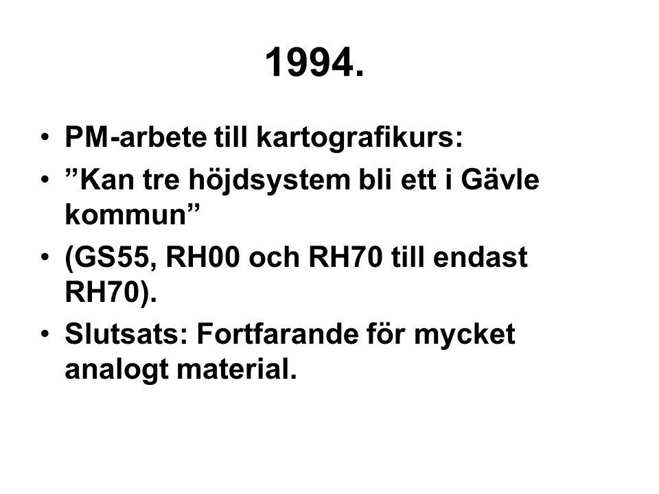 """1994. PM-arbete till kartografikurs: """"Kan tre höjdsystem bli ett i Gävle kommun"""" (GS55, RH00 och RH70 till endast RH70). Slutsats: Fortfarande för myc"""