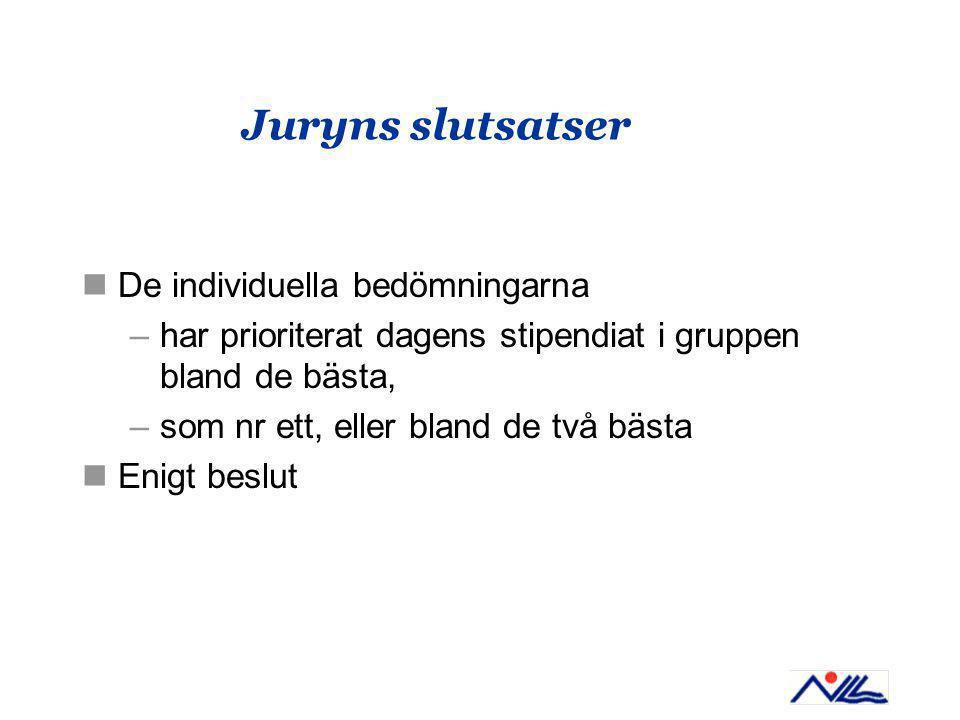 Juryns slutsatser De individuella bedömningarna –har prioriterat dagens stipendiat i gruppen bland de bästa, –som nr ett, eller bland de två bästa Enigt beslut