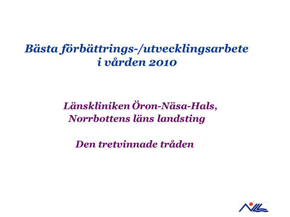 Bästa förbättrings-/utvecklingsarbete i vården 2010 Länskliniken Öron-Näsa-Hals, Norrbottens läns landsting Den tretvinnade tråden