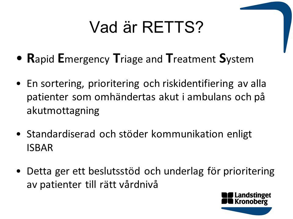 Vad är RETTS? R apid E mergency T riage and T reatment S ystem En sortering, prioritering och riskidentifiering av alla patienter som omhändertas akut