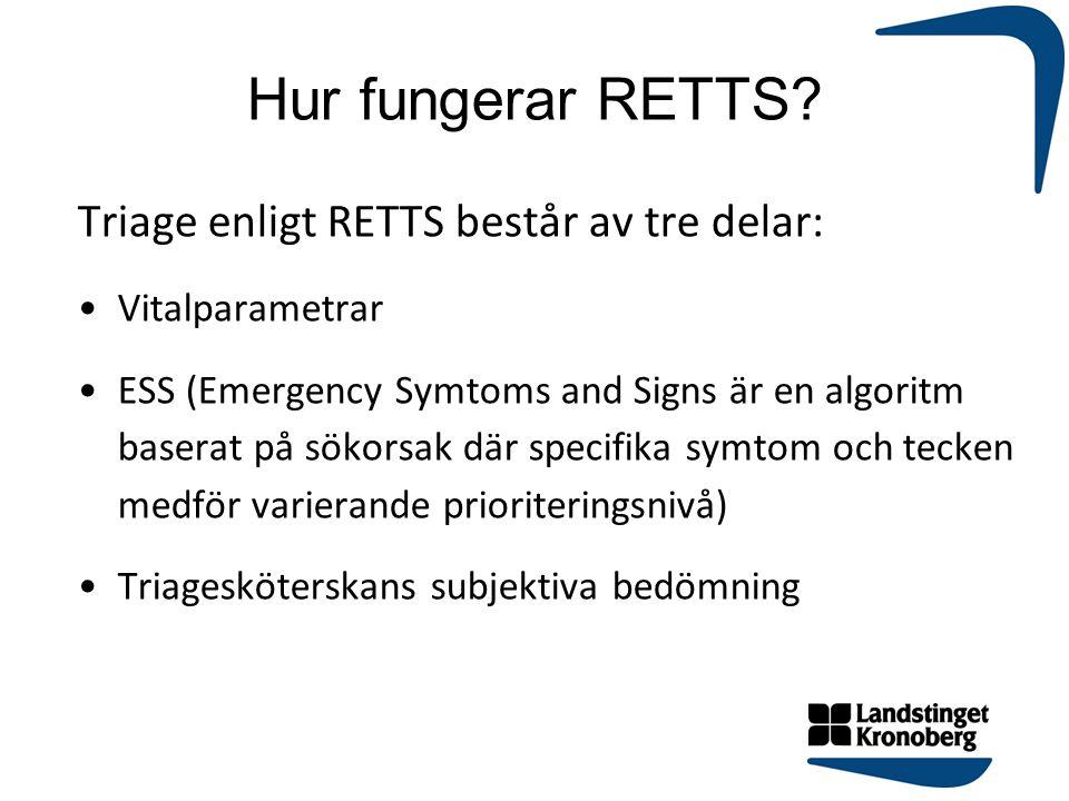 Hur fungerar RETTS? Triage enligt RETTS består av tre delar: Vitalparametrar ESS (Emergency Symtoms and Signs är en algoritm baserat på sökorsak där s