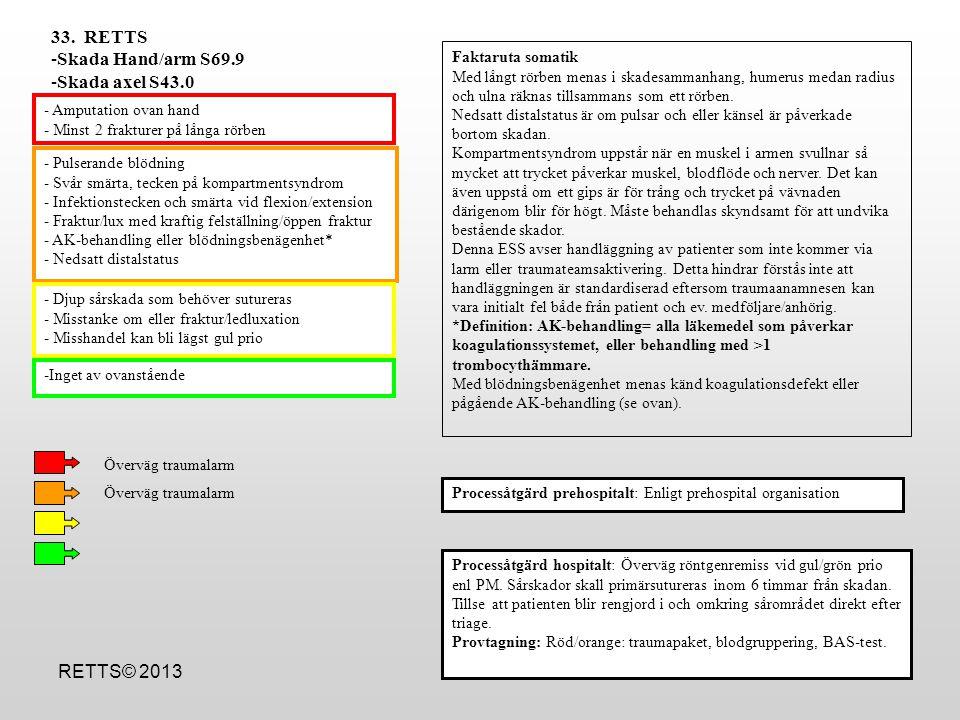 RETTS© 2013 - Pulserande blödning - Svår smärta, tecken på kompartmentsyndrom - Infektionstecken och smärta vid flexion/extension - Fraktur/lux med kr