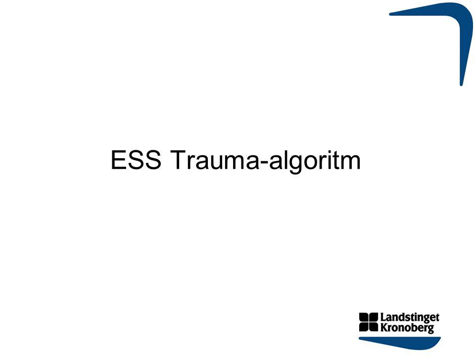 RETTS© 2013  SpO2<90% med 02 eller ofri luftväg  AF >30 eller < 8/minut  Puls >130/min  Systoliskt BT < 90mmHg  RLS >3 eller GCS <12  Neurologiskt bortfall  Ryggskada med neurologiskt bortfall  Penetrerande våld på huvud, hals eller bål, proximalt om armbåge/knä.