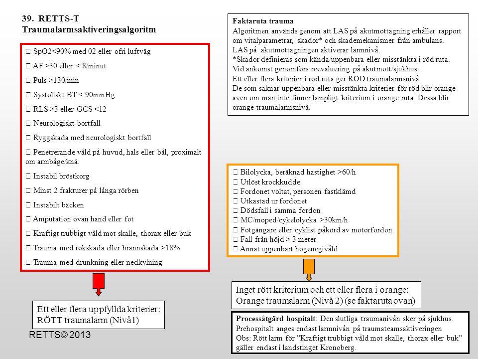 RETTS© 2013  SpO2<90% med 02 eller ofri luftväg  AF >30 eller < 8/minut  Puls >130/min  Systoliskt BT < 90mmHg  RLS >3 eller GCS <12  Neurologis