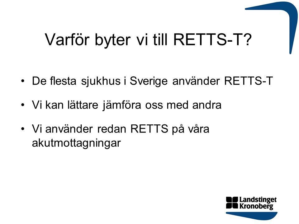 Varför byter vi till RETTS-T? De flesta sjukhus i Sverige använder RETTS-T Vi kan lättare jämföra oss med andra Vi använder redan RETTS på våra akutmo