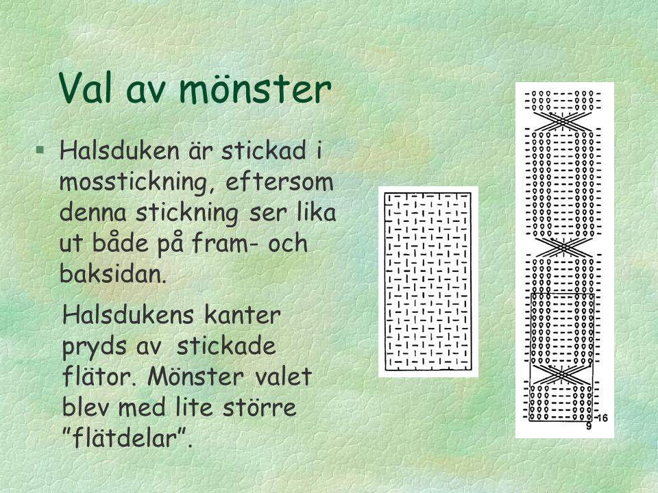 Garn och stickor §Inhandlade fyra nystan av garnet, á 3 € st §Grovleken på stickorna blev nr 4 1/2, enligt det som rekommenderades på garnet.