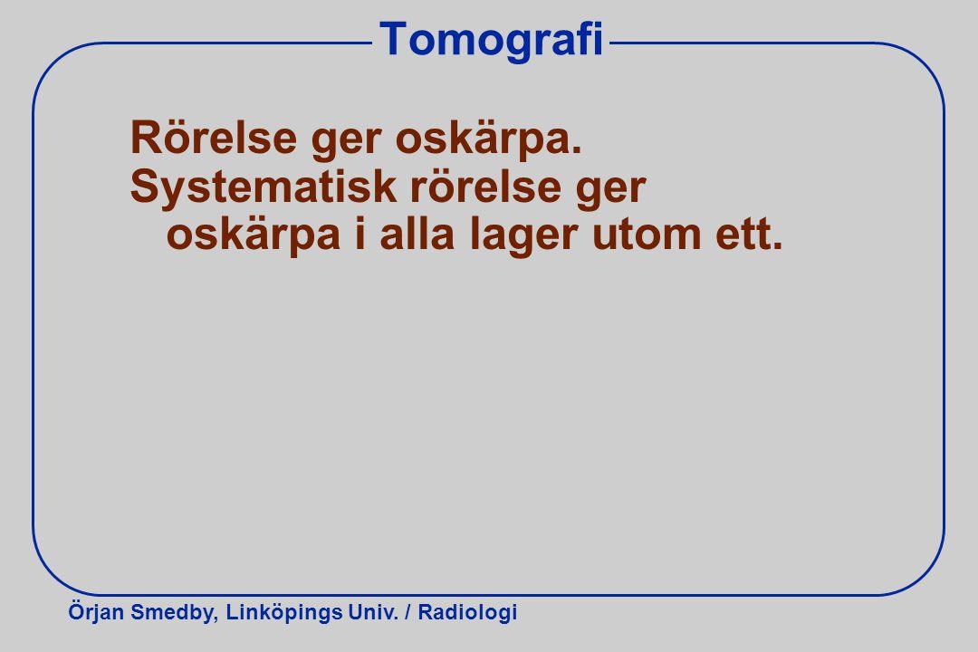 Örjan Smedby, Linköpings Univ. / Radiologi Tomografi Rörelse ger oskärpa. Systematisk rörelse ger oskärpa i alla lager utom ett.