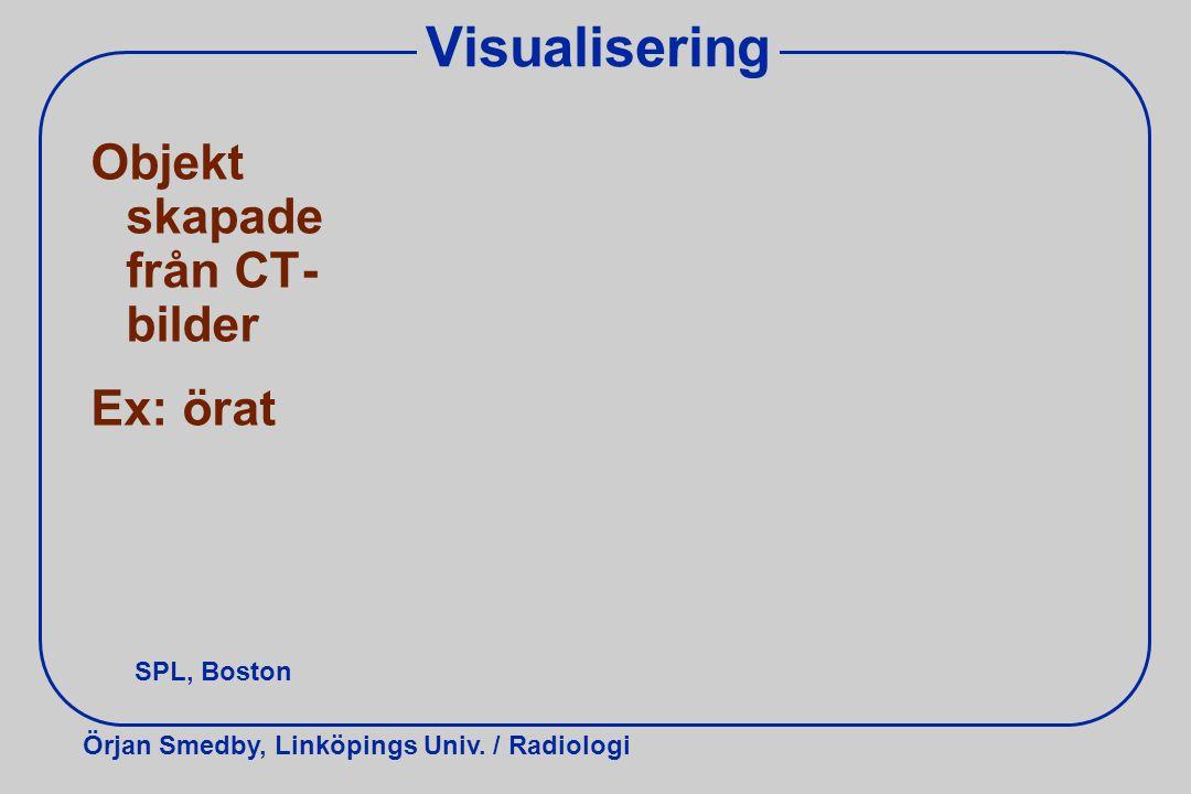 Visualisering Objekt skapade från CT- bilder Ex: örat SPL, Boston