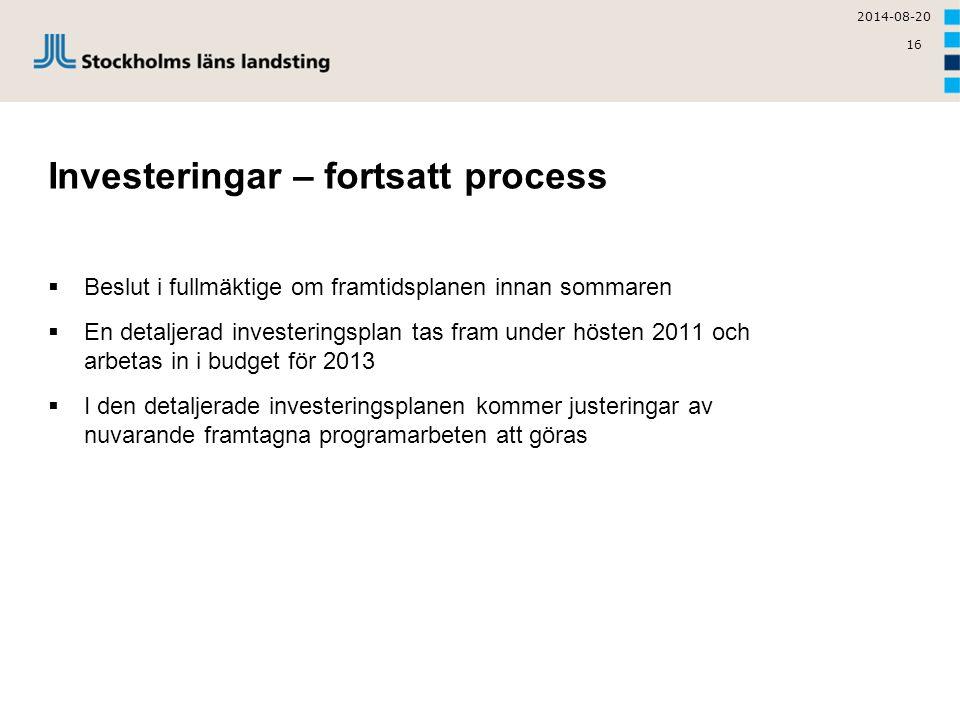16 Investeringar – fortsatt process  Beslut i fullmäktige om framtidsplanen innan sommaren  En detaljerad investeringsplan tas fram under hösten 201