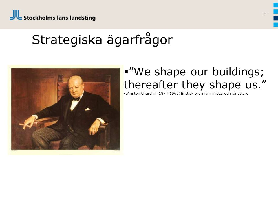 37 Strategiska ägarfrågor  We shape our buildings; thereafter they shape us.  Winston Churchill (1874-1965) Brittisk premiärminister och författare