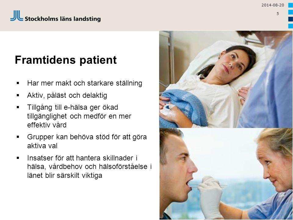 5 Framtidens patient  Har mer makt och starkare ställning  Aktiv, påläst och delaktig  Tillgång till e-hälsa ger ökad tillgänglighet och medför en