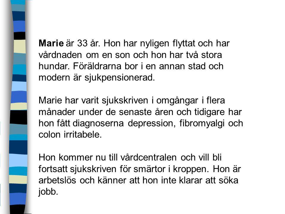 Marie är 33 år.Hon har nyligen flyttat och har vårdnaden om en son och hon har två stora hundar.