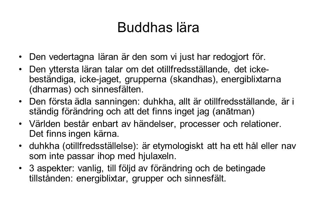Buddhas lära Den vedertagna läran är den som vi just har redogjort för. Den yttersta läran talar om det otillfredsställande, det icke- beständiga, ick