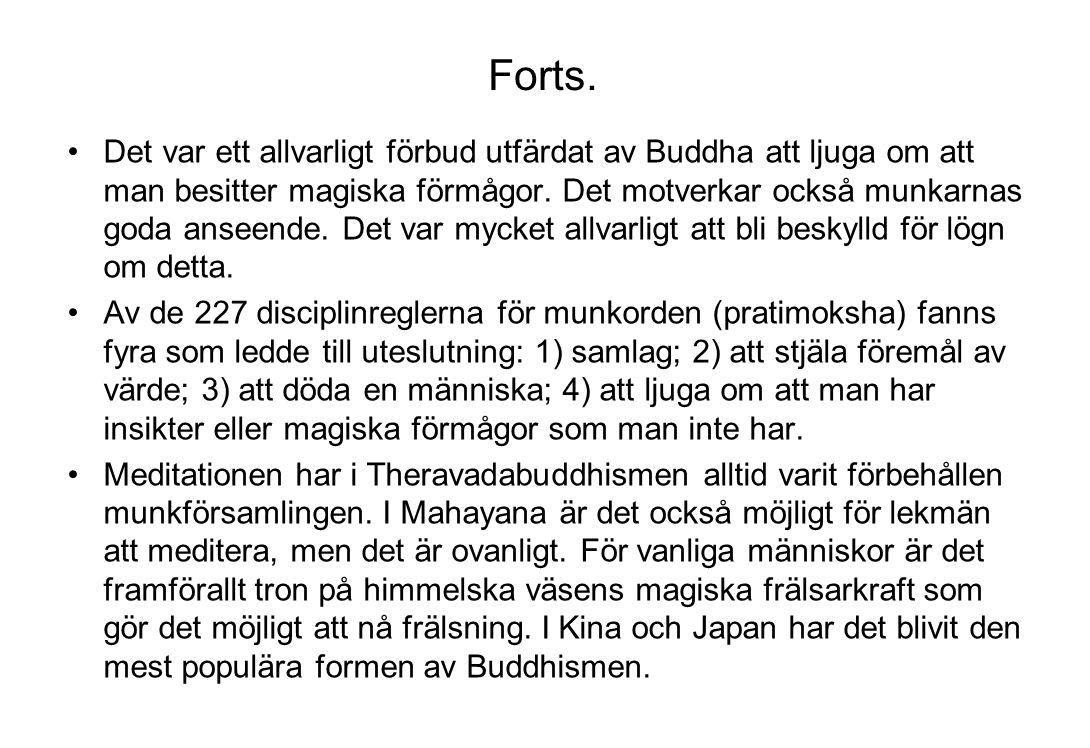 Forts. Det var ett allvarligt förbud utfärdat av Buddha att ljuga om att man besitter magiska förmågor. Det motverkar också munkarnas goda anseende. D
