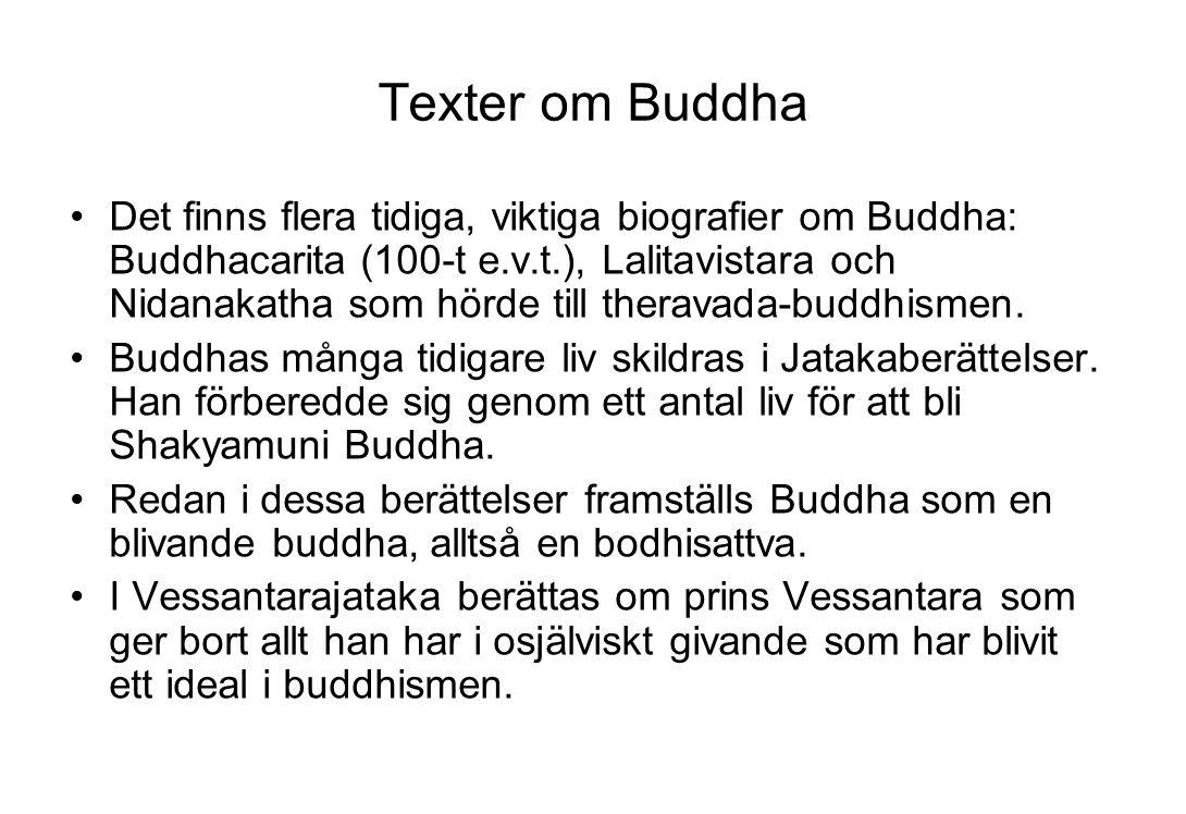Texter om Buddha Det finns flera tidiga, viktiga biografier om Buddha: Buddhacarita (100-t e.v.t.), Lalitavistara och Nidanakatha som hörde till thera