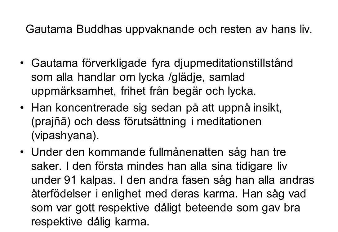 Gautama Buddhas uppvaknande och resten av hans liv. Gautama förverkligade fyra djupmeditationstillstånd som alla handlar om lycka /glädje, samlad uppm
