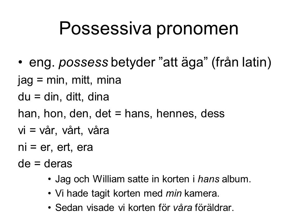 Possessiva pronomen eng.