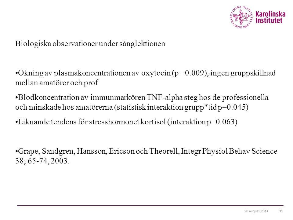 20 augusti 201411 Biologiska observationer under sånglektionen Ökning av plasmakoncentrationen av oxytocin (p= 0.009), ingen gruppskillnad mellan amatörer och prof Blodkoncentration av immunmarkören TNF-alpha steg hos de professionella och minskade hos amatörerna (statistisk interaktion grupp*tid p=0.045) Liknande tendens för stresshormonet kortisol (interaktion p=0.063) Grape, Sandgren, Hansson, Ericson och Theorell, Integr Physiol Behav Science 38; 65-74, 2003.