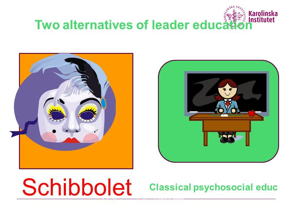 Two alternatives of leader education Schibbolet Classical psychosocial educ Julia Romanowska Projekt KULT 2009 03 30Stressforskningsinstitutet