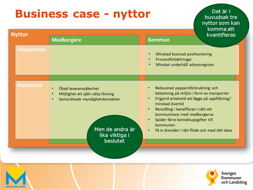 Business case - nyttor Det är i huvudsak tre nyttor som kan komma att kvantifieras Men de andra är lika viktiga i beslutet