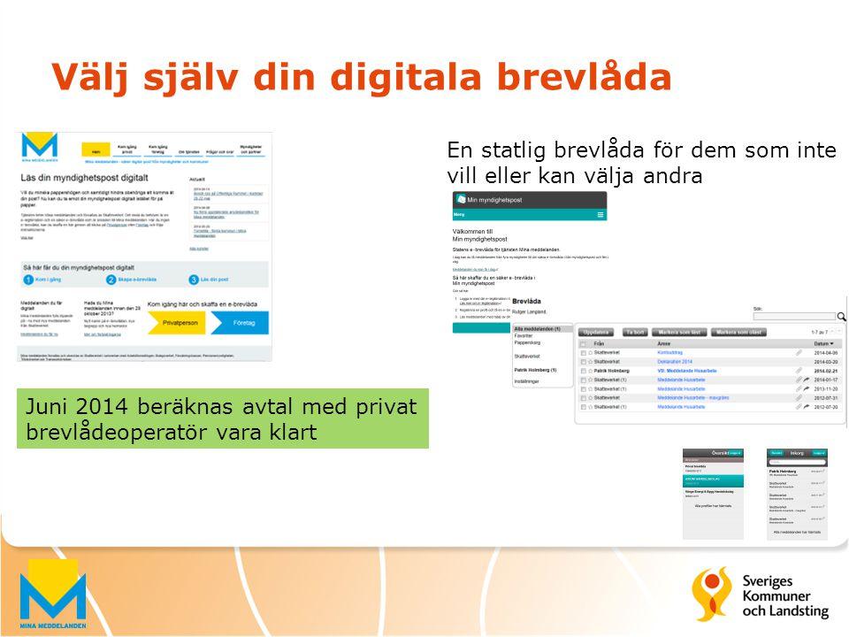 Välj själv din digitala brevlåda Juni 2014 beräknas avtal med privat brevlådeoperatör vara klart En statlig brevlåda för dem som inte vill eller kan v