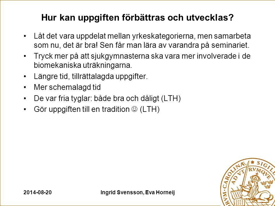 2014-08-20Ingrid Svensson, Eva Horneij Hur kan uppgiften förbättras och utvecklas.