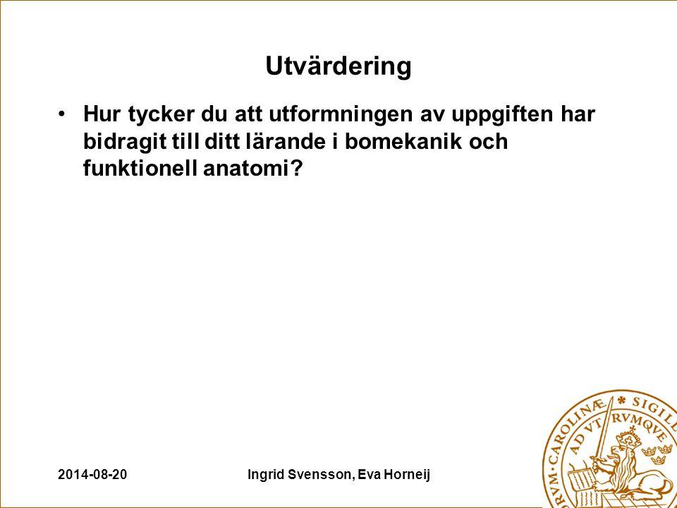 2014-08-20Ingrid Svensson, Eva Horneij Utvärdering Hur tycker du att utformningen av uppgiften har bidragit till ditt lärande i bomekanik och funktionell anatomi?