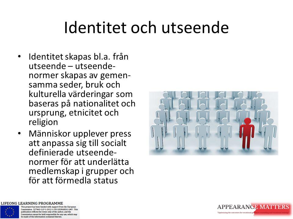 Identitet och utseende Identitet skapas bl.a. från utseende – utseende- normer skapas av gemen- samma seder, bruk och kulturella värderingar som baser