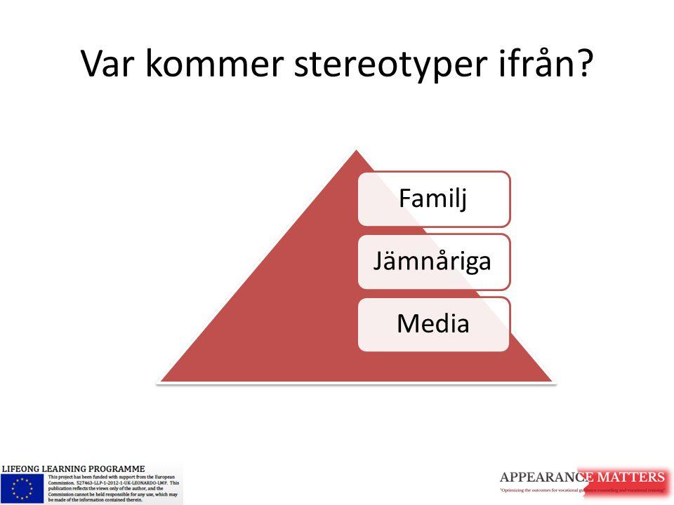 Var kommer stereotyper ifrån? FamiljJämnårigaMedia