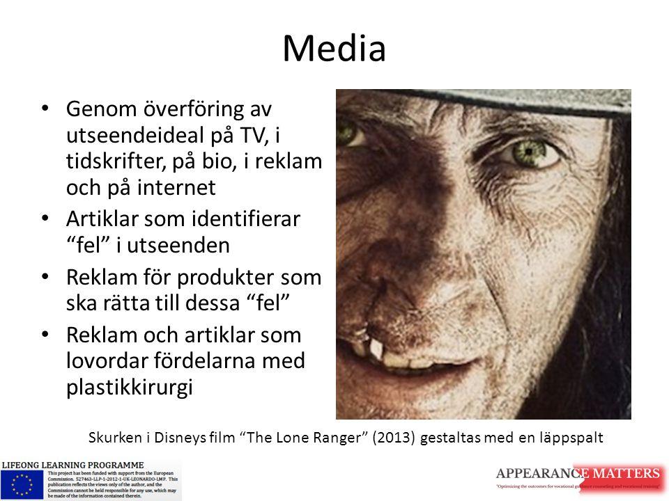 """Media Genom överföring av utseendeideal på TV, i tidskrifter, på bio, i reklam och på internet Artiklar som identifierar """"fel"""" i utseenden Reklam för"""