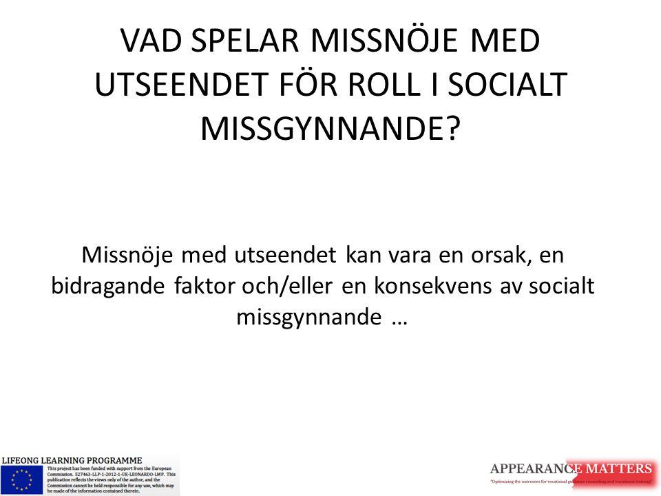 RISKFAKTORER FÖR MISSNÖJE MED UTSEENDE HOS SOCIALT MISSGYNNADE GRUPPER INKLUDERAR 1.Kulturella normer och (tros)föreställningar 2.Socioekonomiska omständigheter 3.Psykisk sårbarhet 4.Andras respons