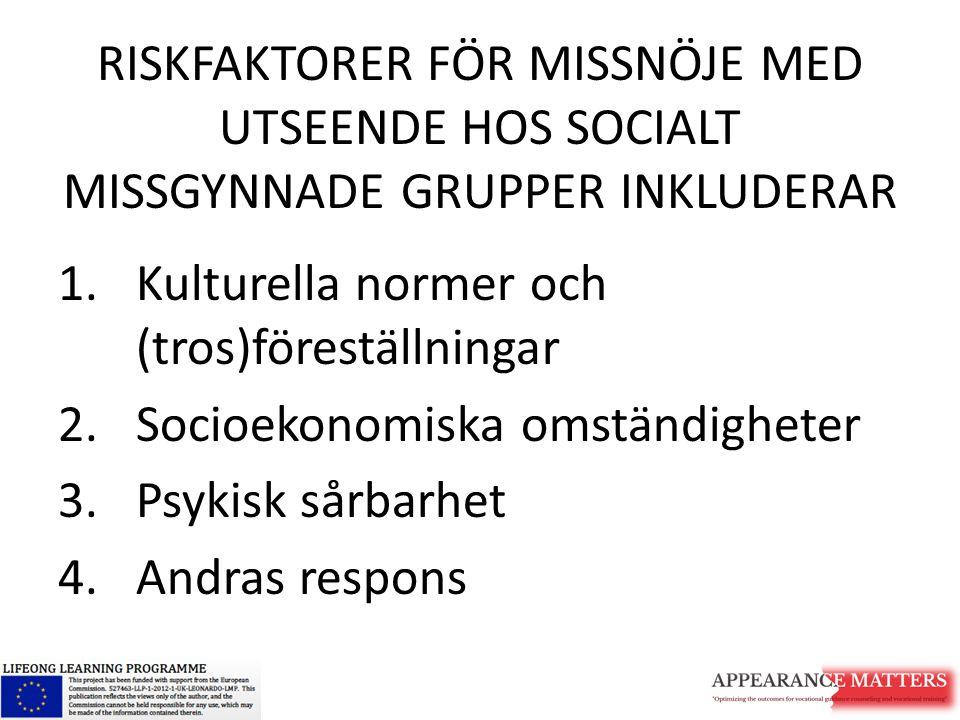 RISKFAKTORER FÖR MISSNÖJE MED UTSEENDE HOS SOCIALT MISSGYNNADE GRUPPER INKLUDERAR 1.Kulturella normer och (tros)föreställningar 2.Socioekonomiska omst