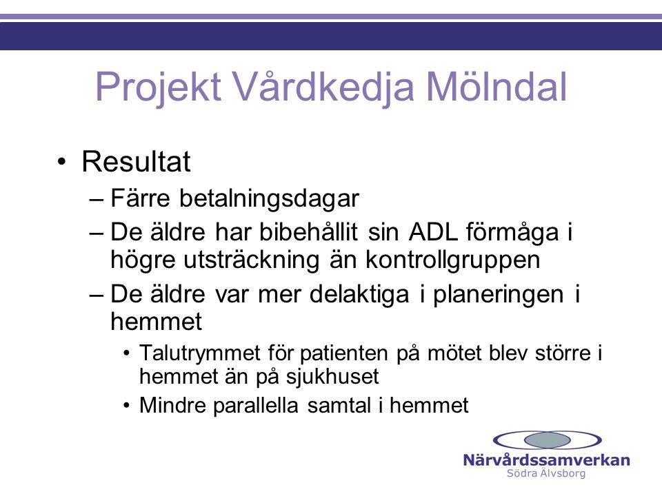Projekt Vårdkedja Mölndal Resultat –Färre betalningsdagar –De äldre har bibehållit sin ADL förmåga i högre utsträckning än kontrollgruppen –De äldre v