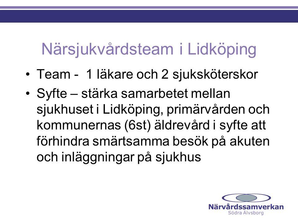Närsjukvårdsteam i Lidköping Team - 1 läkare och 2 sjuksköterskor Syfte – stärka samarbetet mellan sjukhuset i Lidköping, primärvården och kommunernas