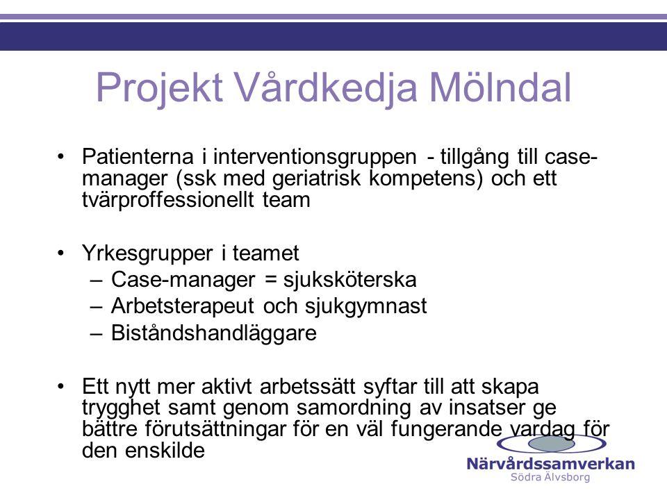 Projekt Vårdkedja Mölndal Patienterna i interventionsgruppen - tillgång till case- manager (ssk med geriatrisk kompetens) och ett tvärproffessionellt