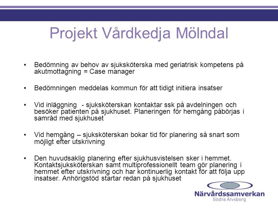 Projekt Vårdkedja Mölndal Bedömning av behov av sjuksköterska med geriatrisk kompetens på akutmottagning = Case manager Bedömningen meddelas kommun fö
